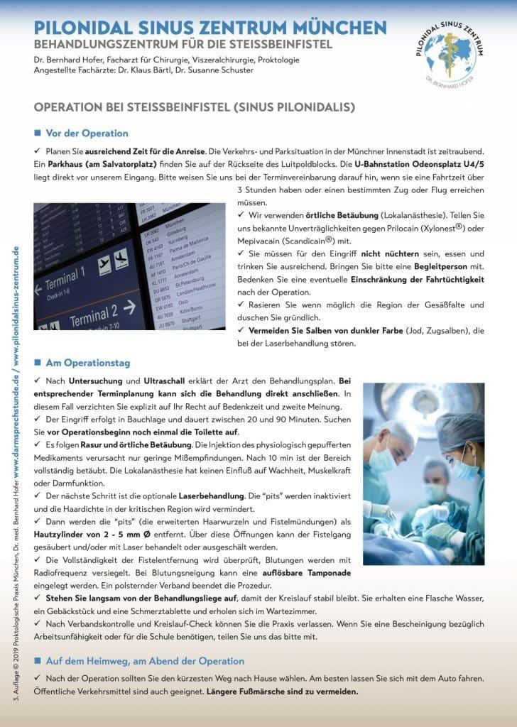 Que faut-il prendre en compte avant l'opération Kyste Sacrococcygien (Sinus pilonidal) , comment se déroule le traitement ambulatoire, comment se déroule le suivi ?
