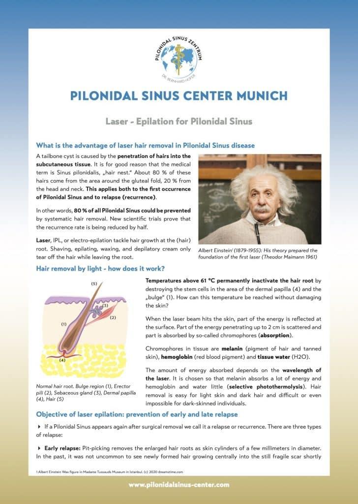 Dépliant d'information sur la thérapie laser du sinus pilonidal