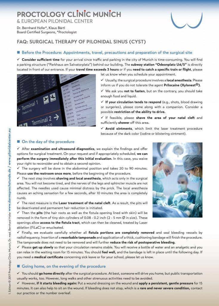 Info Flyer Traitement du sinus pilonidal anglais