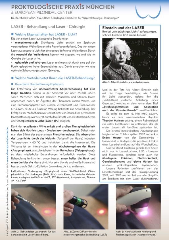 Brochure d'information sur la technologie laser et ses applications pour Kyste Sacrococcygien (Sinus pilonidal), l'épilation, les hémorroïdes et les varices.